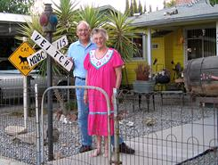 Bradley Veitch, of Moraga, Calif., with his mother, Marion Veitch, 91, outside her home in Taft, Calif.