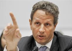 Treasury Secretary Timothy Geithner testifies before the House Financial Services Committee in September 2010.