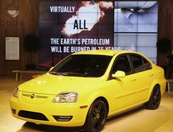Coda Automotive presented its all-electric plug-in car at the 2010 Los Angeles Auto Show .
