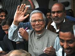 Nobel peace prize winner Muhammad Yunus appears at the Bangladeshi court of Memensingh on Jan. 18, 2010.