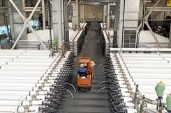 "A forklift moves along the rows and rows of ""train sections"" containing filtration filters at the reverse osmosis facility in Orange County, Calif."