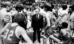UCLA basketball coach John Wooden and team in '74.