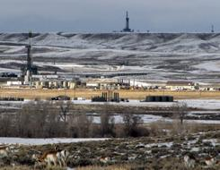 Gas drilling rigs in western Wyoming's Upper Green River Basin, where ozone levels last week exceeded the worst days in major U.S. cities.