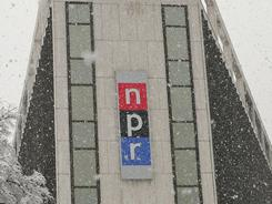 The National Public Radio (NPR) building during a snowstorm in February 2007 in Washington, D.C.
