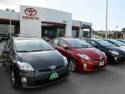 A row of new Toyota Prius models sit on the sales lot at City Toyota on Feb. 3, 2010 in Daly City, Calif.