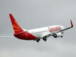 A SpiceJet 737-800 taking off.