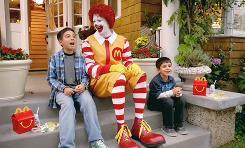 Ronald McDonald in a new McDonald's ad.
