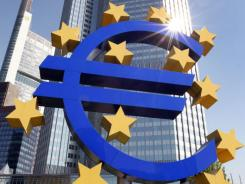 The logo of the Euro currency stands in front of the European Central Bank (ECB) in Frankfurt, Germany,