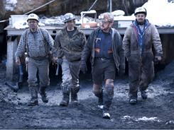 Miners walk away from the Cobalt mine in West Virginia in the Spike TV series 'Coal.'