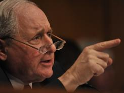 Sen. Carl Levin questions  the former head of Goldman Sachs' mortgage department at a hearing last year.