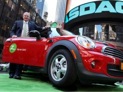 Zipcar Chairman and CEO Scott Griffith outside of NASDAQ in Times Square on Zipcar's first day of trading.