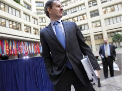 U.S. Treasury chief Timothy Geithner arrives Friday for a meeting of G-20 finance ministers and central bank execs.