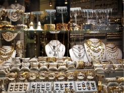 Gold in a display window in New York City's jewelry district.