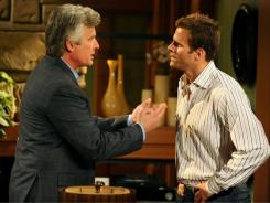 "Michael E. Knight, left, and Cameron Mathison act out a scene  from ""All My Children"" in 2010."