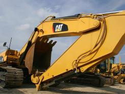 Large earth-moving equipment is seen at a Caterpillar dealership and service center in Springfield, Ill.