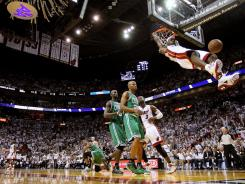 LeBron James of the Miami Heat dunks during Game Two of the Eastern Conference Semifinals on May 3, 2011 in Miami.