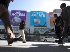 Billboards from a medical device company near Moscone Center in San Francisco, site of a Heart Rhythm Society convention.