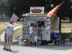 Luiz de Lima's Tropical Hot Dog cart in Amesbury, Mass.