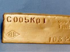 Gold ingot from the Bingham Canyon Mine.