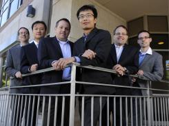 L. to r.: Co-portfolio managers Eric Newman, Yan Liu, Richard Gates, Chao Chen, Kevin Gates; and senior analyst Kevin Byrnes of the TFS Small Cap fund.