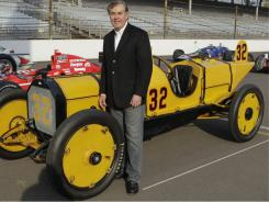 Indianapolis Motor Speedway CEO Jeff Belskus with a 1911 Marmon Wasp that competed in the first race.