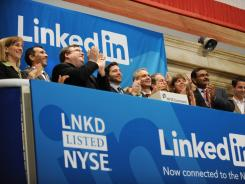 Linkedin execs including Reid Garrett Hoffman and Jeff Weiner at Thursday's opening of the New York Stock Exchange.