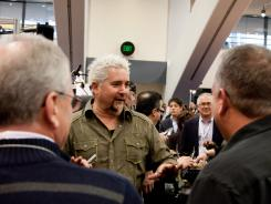 Celebrity chef Guy Fieri at the Gia Brands booth at the Winter Fancy Food Show in San Francisco.