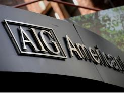 American International Group's logo  outside their office in the lower Manhattan area of New York in 2008.