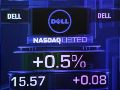Stock screen for Dell, one of several large companies with single-digit P-Es, shown at the Nasdaq market site in New York City on May 24, 2011.