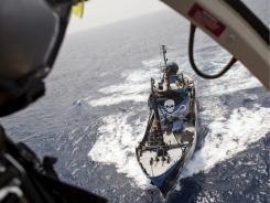 In this photo provided by the Sea Shepherd Conservation Society and taken Wednesday, June 8, 2011, the Steven Irwin, is seen from the helicopter it carries on board.