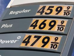 A sign showing gas prices that exceeded $4 a gallon is seen at this San Francisco gas station on April 27.