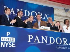 Joe Kennedy, CEO and president, and Tim Westergren, founder, join other Pandora execs at the NYSE to clebrate the IPO.