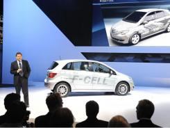 Ernst Lieb of Mercedes Benz USA with a Mercedes B-Class F-Cell hydrogen car at the Los Angeles car show in November.