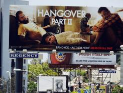 "A billboard advertising the film ""Hangover: Part II"" is seen on the Sunset Strip on May 24, 2011 in West Hollywood."