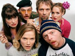 Members of the cast of the British cult comedy 'Spaced.'  Top left to right: : Julia Deakin, Nick Frost , Mark Heap, Katy Carmichael. Bottom: Jessica Hynes, Simon Pegg.