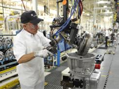 Rick Rush works on the final assembly team at the GM BaltimoreTransmission plant  in White Marsh, Md.