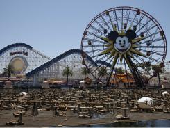 Disney California Adventure park Ferris wheel now sports a giant image of Mickey Mouse as part of its makeover.
