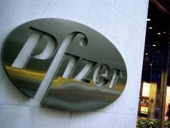 The world headquarters of Pfizer is seen in New York.