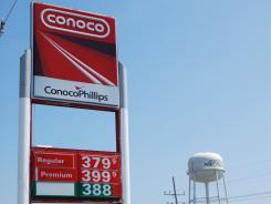 The sign at a ConocoPhillips gas  station in Port Fourchon, La.
