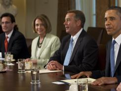 President Obama meets with House officials including, left to right, Majority Leader Eric Cantor, Minority Leader Nancy Pelosi and Speaker John Boehner.