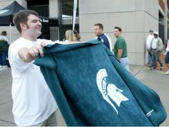 LaSalle Bank gave out free blankets to every student who applied for a Michigan State University-affiliated credit card at the MSU and Notre Dame football on game in 2006.