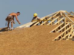 A home is being built in Springfiled, Illinois, July 15, 2011.