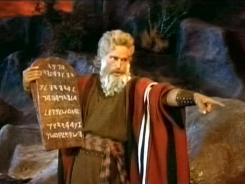 "Charlton Heston as Moses in ""The Ten Commandments."""