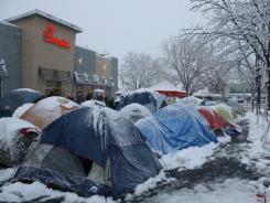 Chick-Fil-A fans camp out in extreme conditions in Fort Collins, Colo., in 2009, for 100 bonus coupons.
