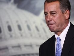 House Speaker John Boehner at a news conference Thursday on the debt limit.