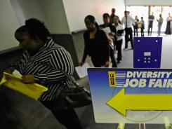 Job seekers on July 27 at the Diversity Job Fair during the NAACP's national convention at the Los Angeles Convention Center.