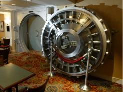 Some think a bank vault is  the safest place for their money these days. This  vault door is at Marriott's Courtyard Washington Convention Center, in an 1891 building that was formerly a bank.