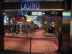 A security guard makes sure no one enters the cordoned-off floor at Resorts Casino Hotel in Atlantic City on Friday.