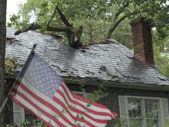 A house damaged by a tree after Hurricane Irene hit Annapolis, Md.