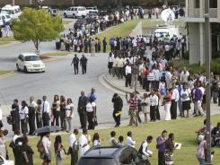 A line Aug. 18 at a job fair in Atlanta sponsored by the Congressional Black Caucus.